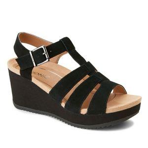 Vionic Tawny Black Suede Wedge Sandal Womens 11